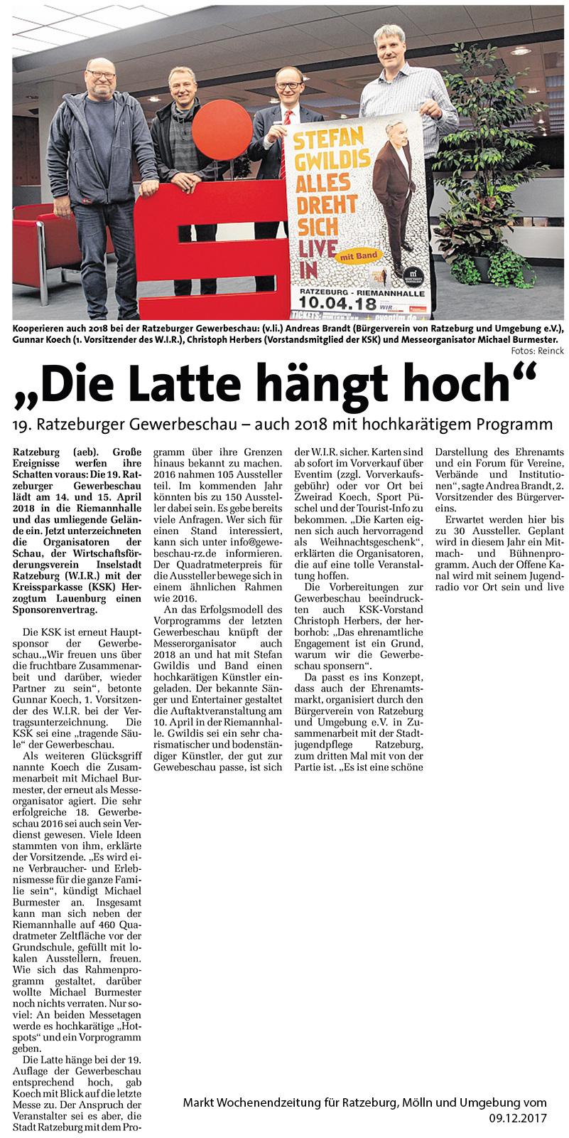 Markt Wochenendzeitung für Ratzeburg, Mölln und Umgebung vom 09.12.2017