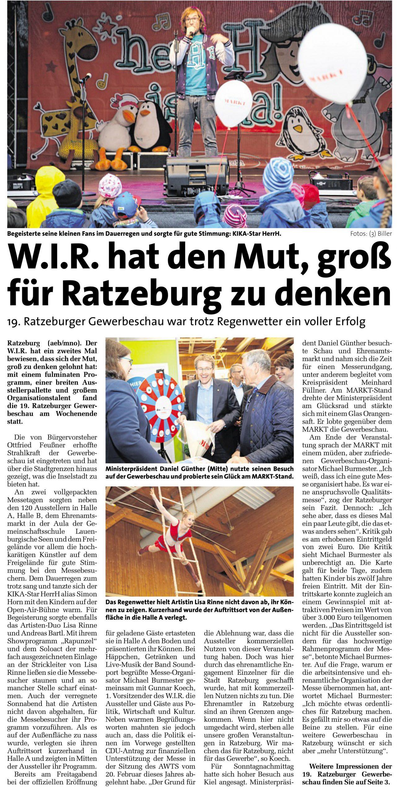 W.I.R. hat den Mut, groß für Ratzeburg zu denken